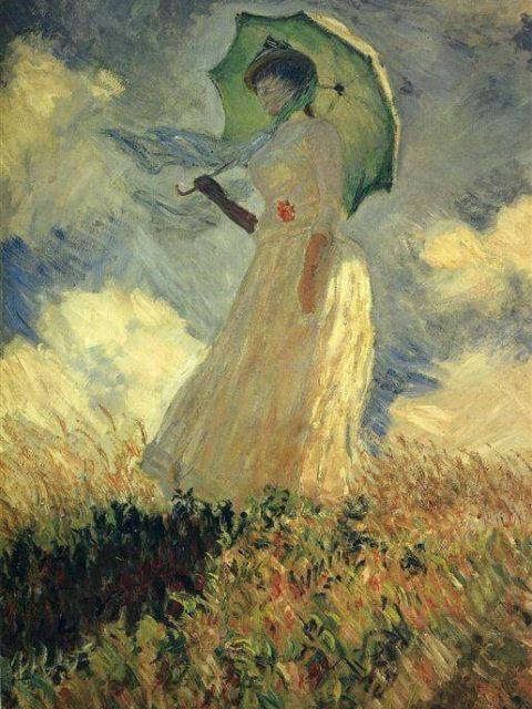 Моне женщина с зонтиком