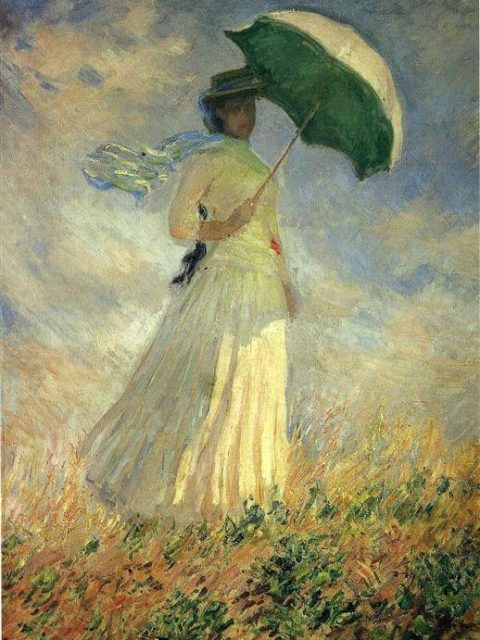 Моне женщина с зонтиком смотрящая направо