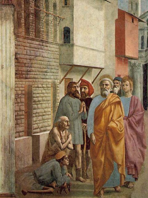 Мазаччо святой Петр исцеляет своей тенью