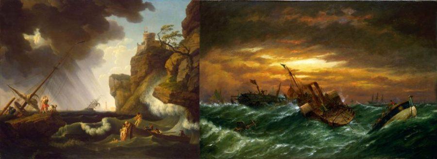 Слева: Клод Верне (Франция). Кораблекрушение. 1763 г. Государственный Эрмитаж, Санкт-Петербург. Справа: Ричард Нибс (Англия). Кораблекрушение. 19 век. Национальный морской музей, Лондон