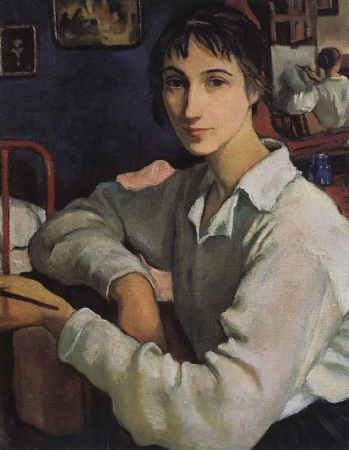 Серебрякова автопортрет в белой блузе