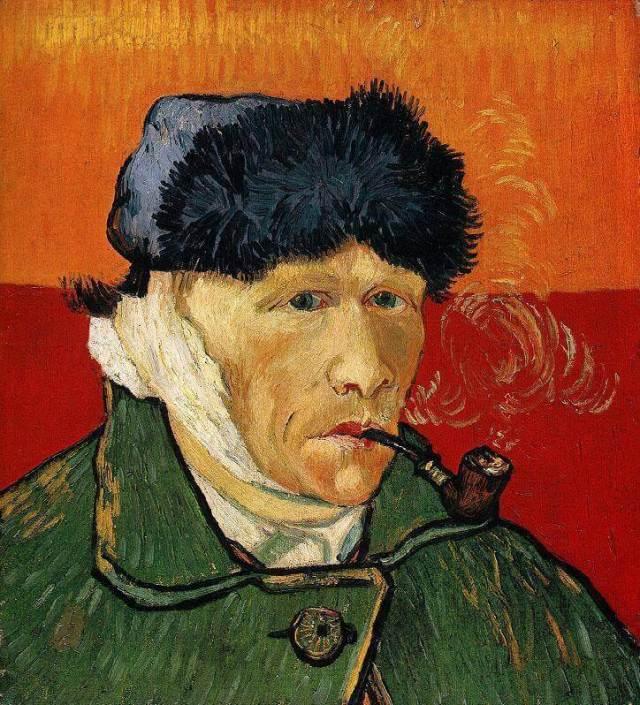 Ван Гог автопортрету с отрезанным ухом и трубкой