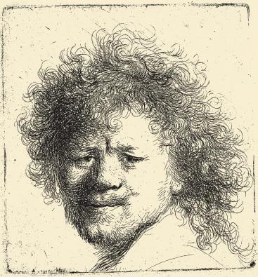 """Рембрандт. Офорт """"Автопортрет с растрёпанными волосами"""""""