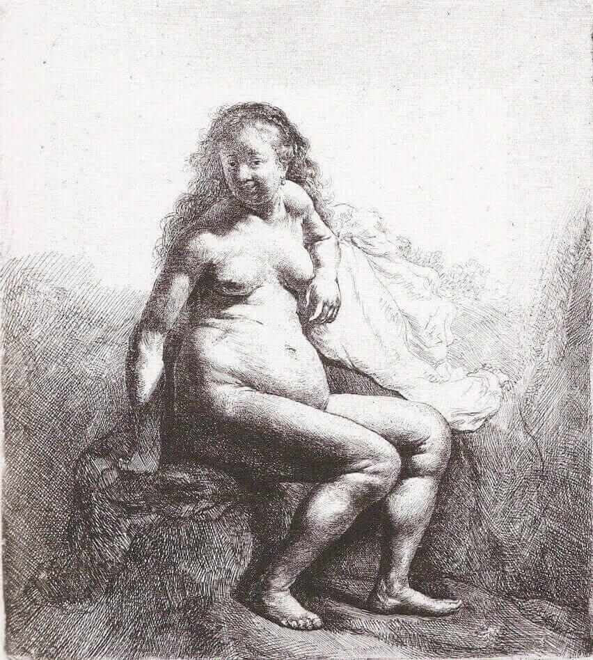 """Рембрандт. Офорт """"Саския Обнаженная"""""""