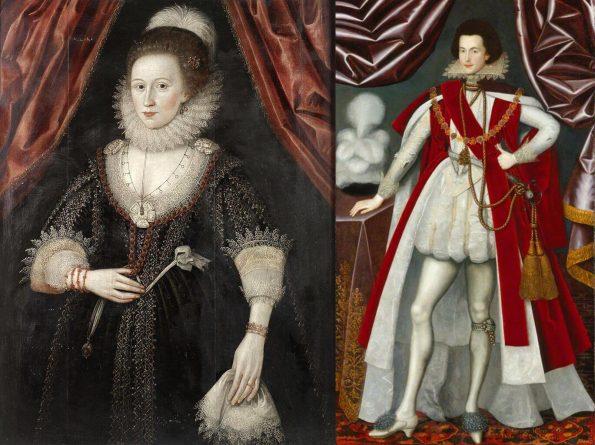 Портреты Уильяма Ларкина. Слева: Леди Лове. 1610-1620 гг. Частная коллекция. Справа: Джордж Вилльерс, Букингемский герцог, 1616 г. Национальная портретная галерея, Лондон
