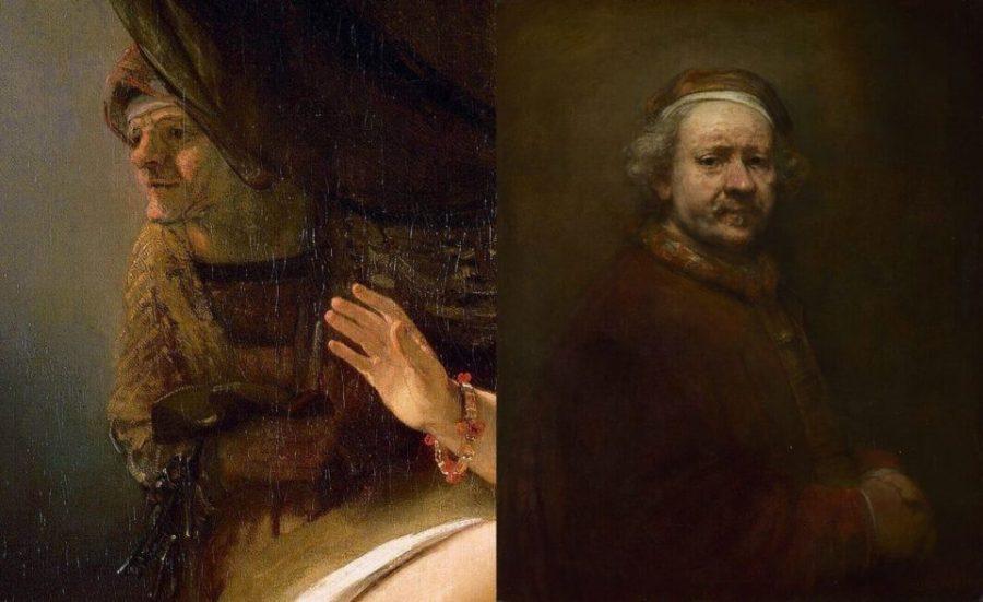 Справа: Рембрандт. Автопортрет. 1669 г. Национальная Лондонская галерея