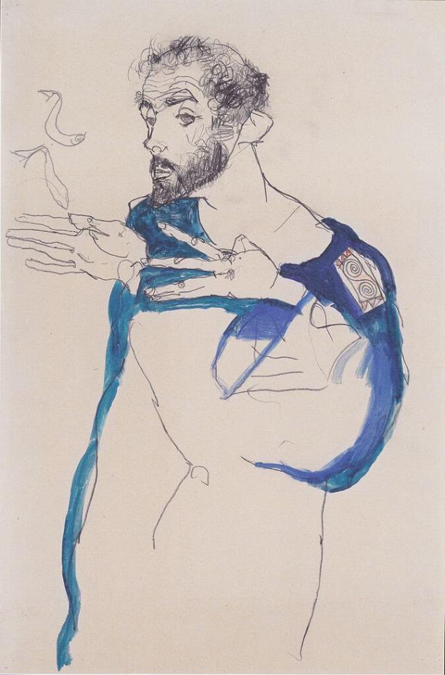 Шиле Климт в синем халате