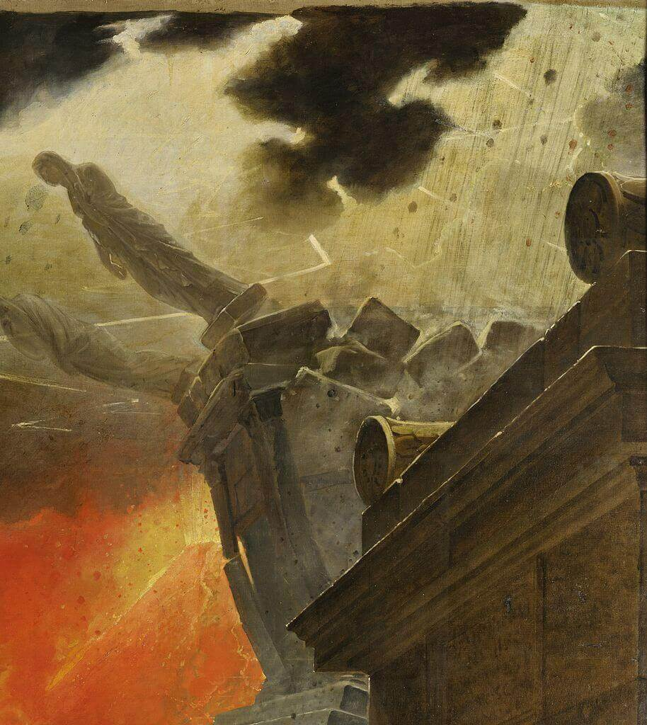 Последний день Помпеи падающие статуи