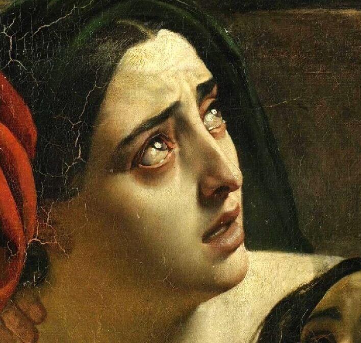 Последний день Помпеи лицо женщины с дочерьми