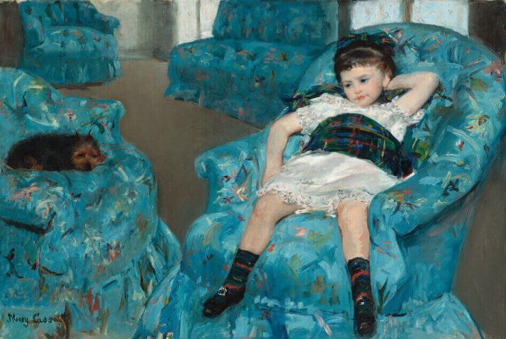 Мэри Кассат маленькая девочка на синем кресле