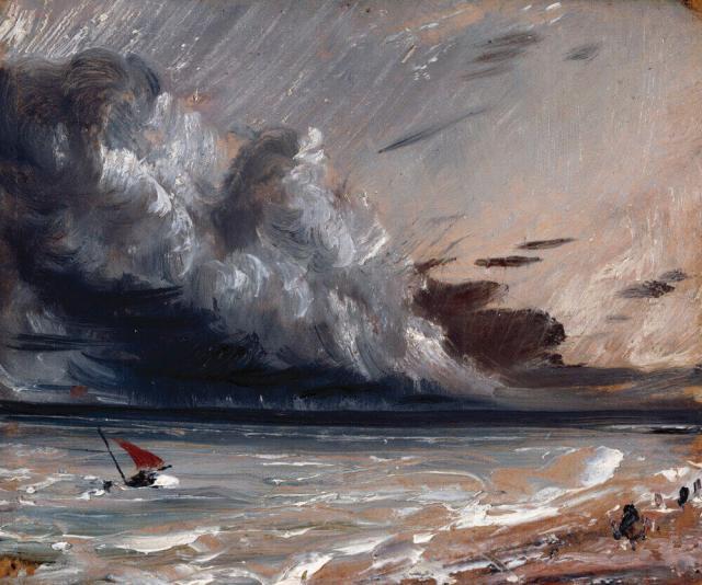 Констебль лодка и штормовое небо