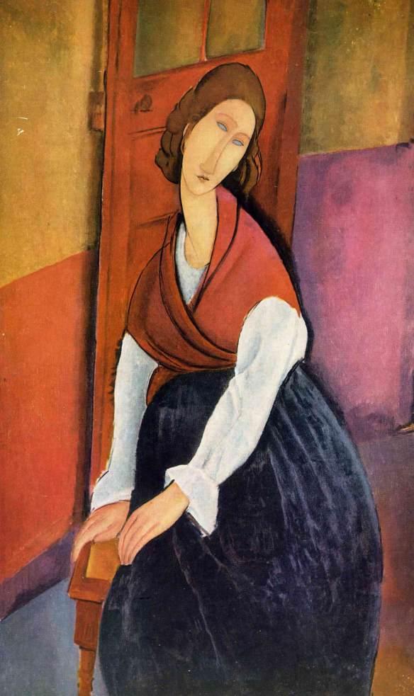 Модильяни Жанна Эбютерн сидящая перед дверью