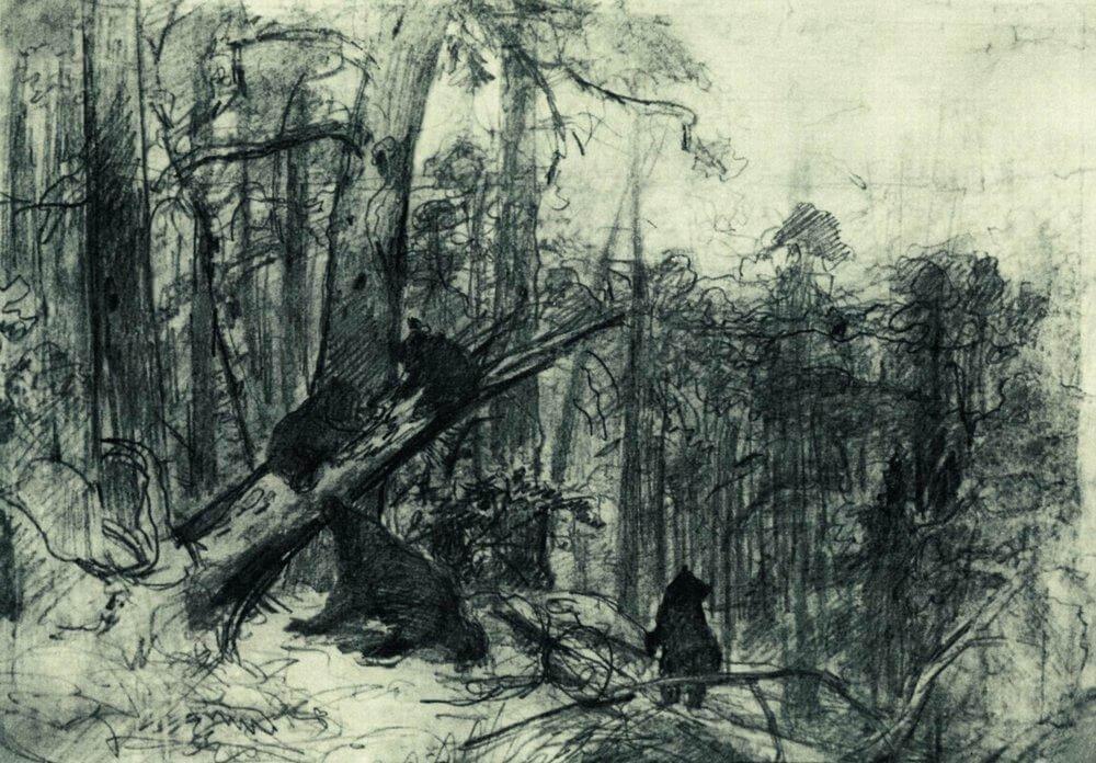 Шишкин рисунок Утро в сосновом лесу