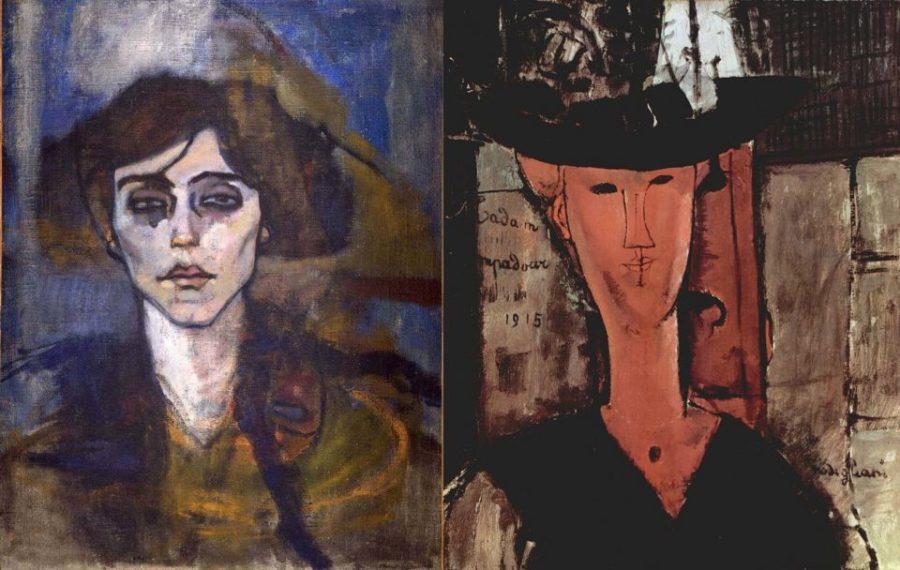Слева: Модильяни. Портрет Мод Абранте. 1907 г. Справа: Модильяни. Мадам Помпадур. 1915 г.