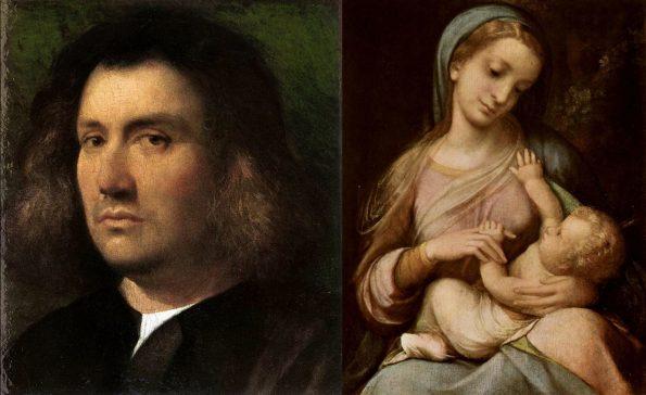 Слева: Джорджоне. Портрет мужчины. 1506 г. Музей Сан-Диего. Справа:Антонио Корреджо. Мадонна Кампори. 1517 г. Галерея Эстенсе, Модена