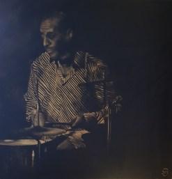 Tableau Blues Sylvie Moreillon joueur de jazz batterie