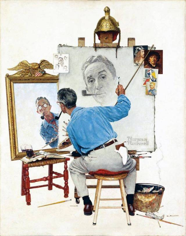 "Norman Rockwell. Self portrait. Illustration for ""The Saturday Evening Post"", February 13, 1960."