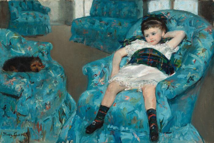 Cassatt little girl in a blue armchair