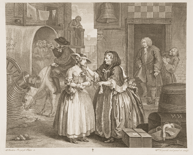 William Hogarth. A Harlot's Progress: Caught by a Bawd. Engraving. 1732.