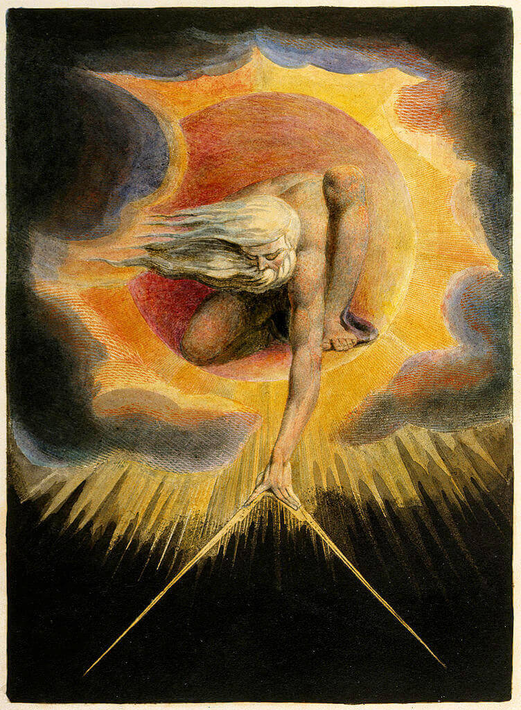 William Blake. The Great Architect. Hand-painted etching.