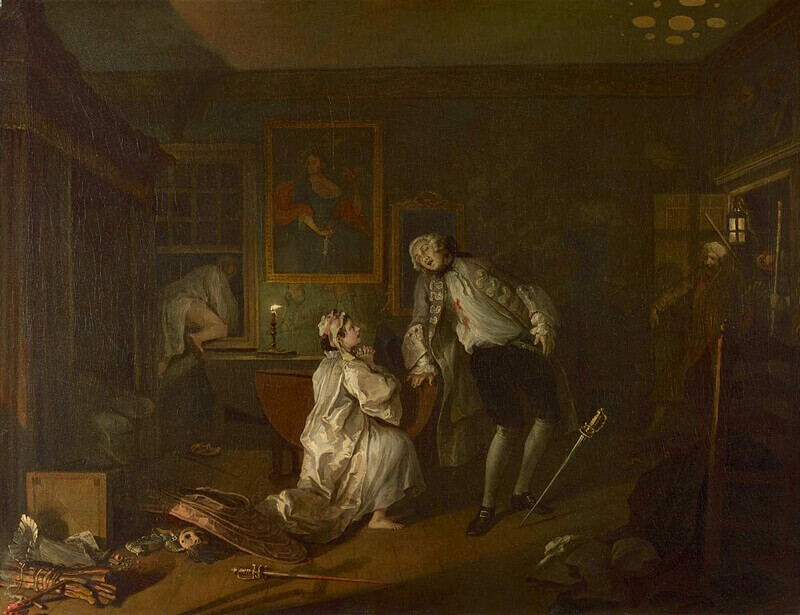 William Hogarth. Marriage a la Mode. The Duel and the Count's Death. 1743.