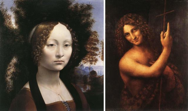 Leonardo's artworks portrait of Ginevra Benci and St. John the Baptist