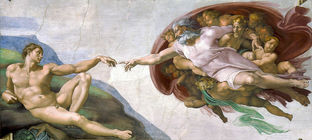 "Michelangelo. Fragment of the fresco ""The Creation of Adam"""