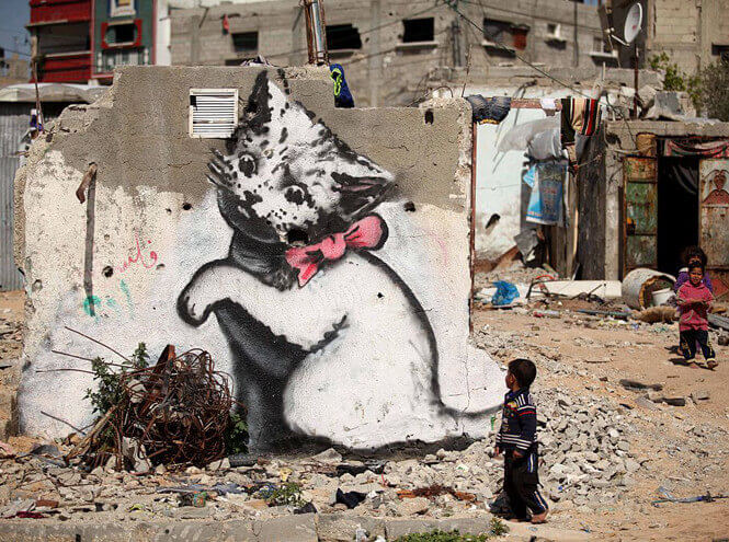Banksy. A Kitten in the Gaza Strip.