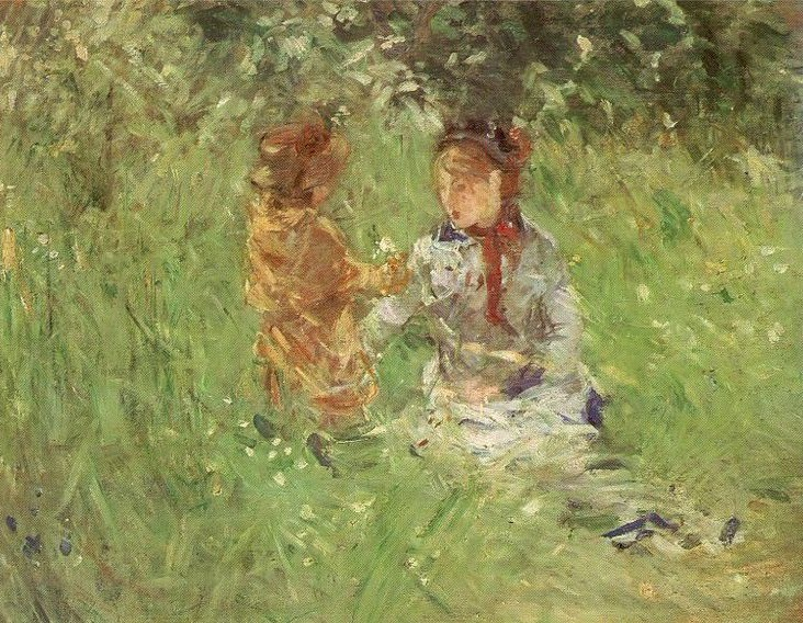Morisot woman with a child in a garden in Bougival