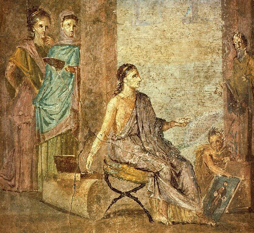 Woman painting a picture. Fresco. Pompeii