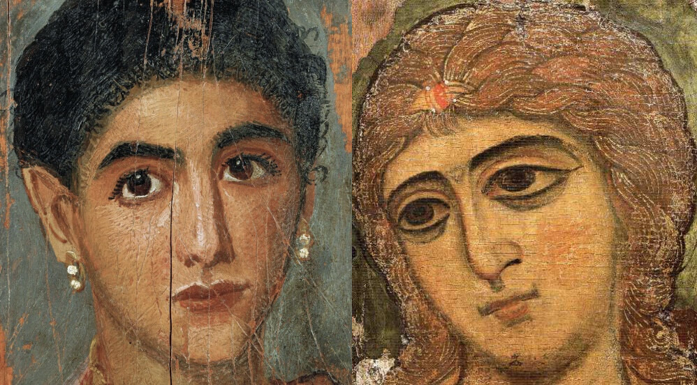 Left: Fayum portrait of a young woman. Right: Archangel Gabriel (Angel of Golden Hair)