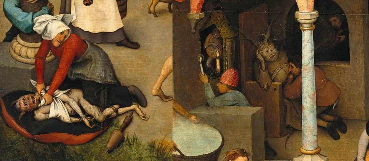 Left. Brueghel. Flemish Proverbs (Fragments). Right. Brueghel. Upside Down World (Fragments).