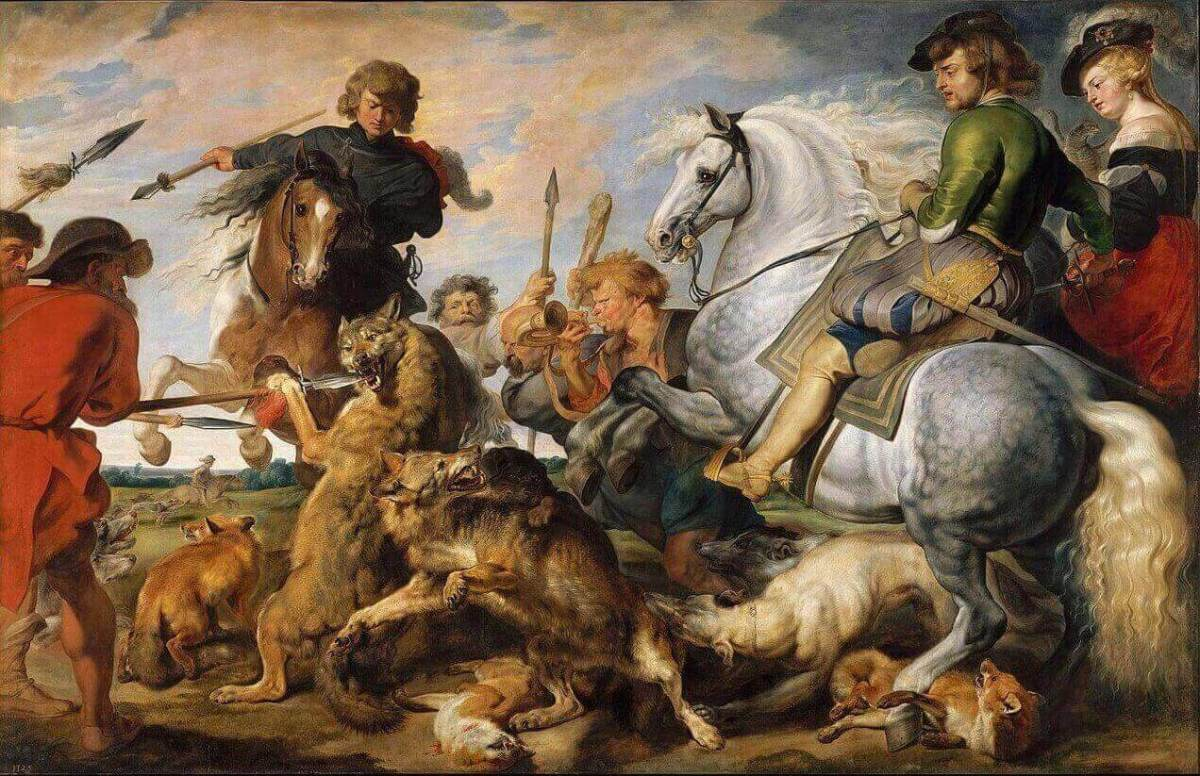 Peter Paul Rubens. Wolf and Fox Hunting. .