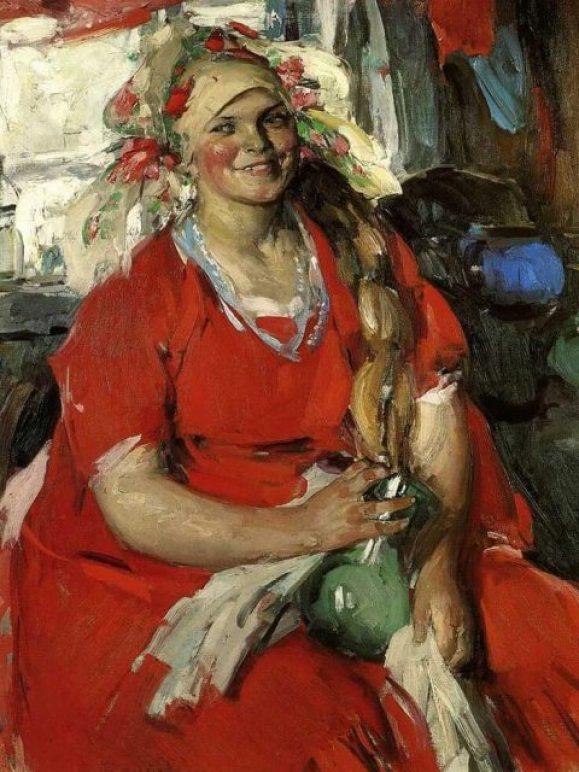 Abram Arkhipov. La feLa paysanne en rouge.