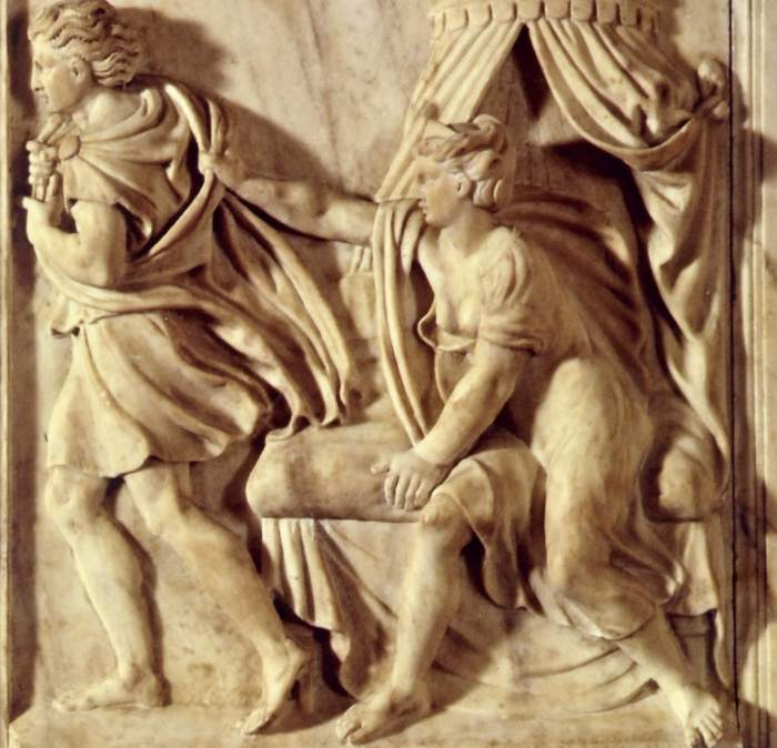 Properzia de Rossi. Joseph and Potiphar's Wife