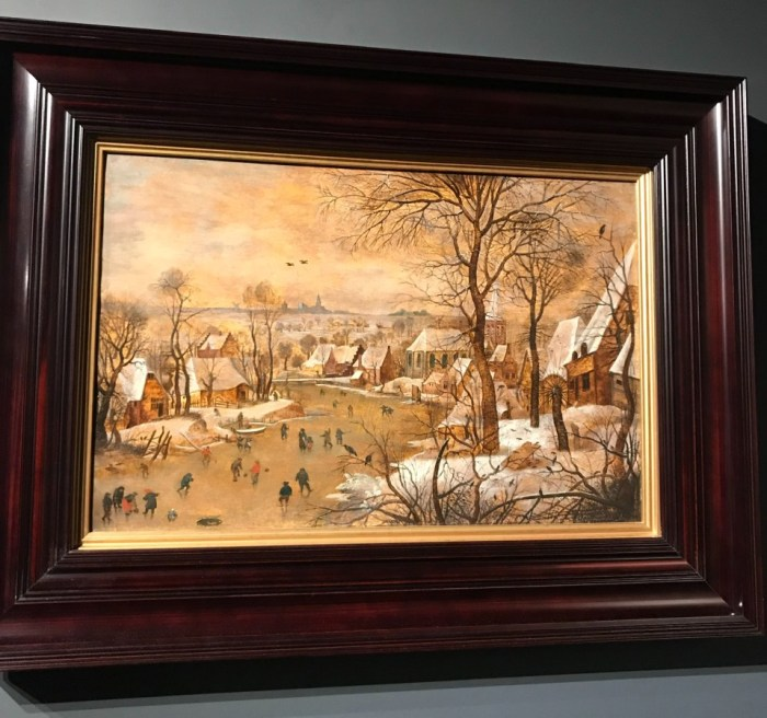 Pieter Bruegel the Younger. Winter landscape with skaters and a bird trap.