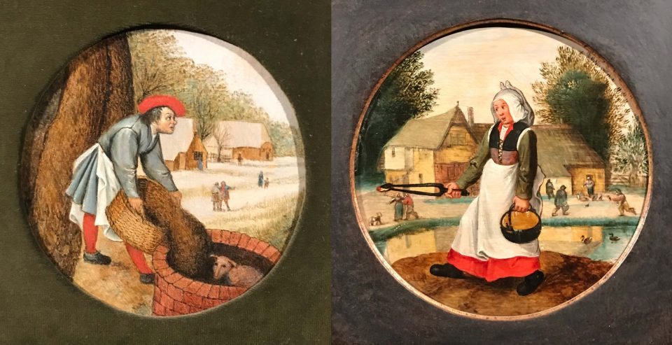 Works by Pieter Bruegel the Younger. Left: A peasant fills up a well when a calf drowned in it. Right: She has fire in one hand and water in the other. 1620th. Private collection. Art Volkhonka, 2020.