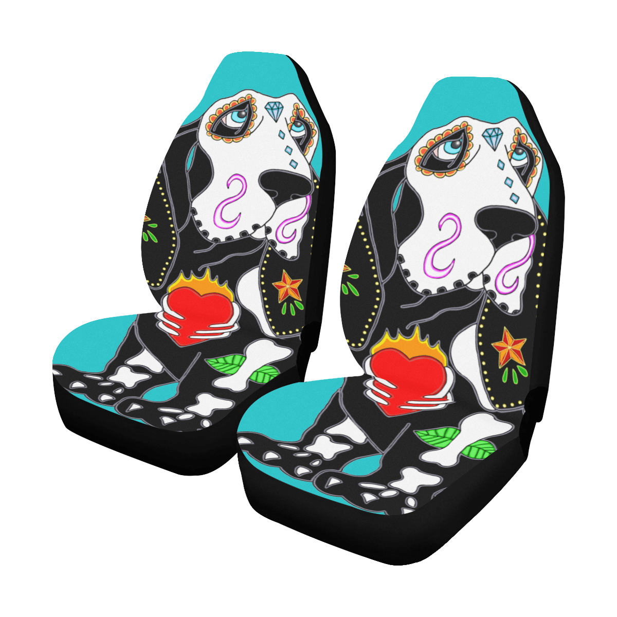 basset hound sugar skull turquoise car seat covers set of 2 id d3007074