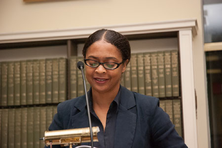 Danielle Legros Georges reading at the American Antiquarian Society, photo by Phillip McAlary