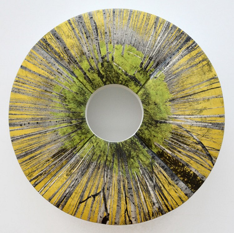 Warren Mather (Crafts Fellow '15), ASPEN GROVE (2013), ceramic mounted on wood, 30.5x30.5x2 in