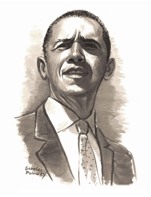 Illustration of Barack Obama by Gabriel Polonsky