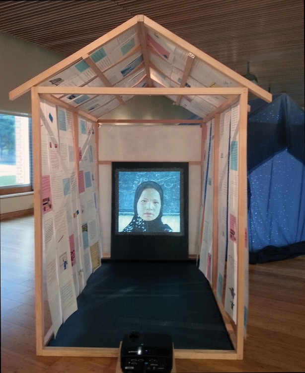 Installation view of ONE TO ONE by Linda Bond, at Kean University 2017