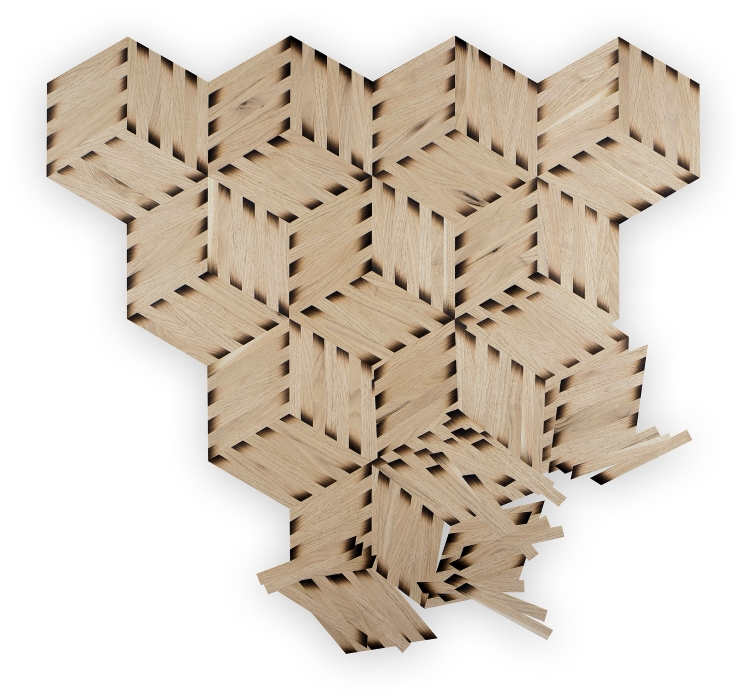 Jack Mauch (Crafts Fellow '17), DISRUPTED TESSELLATION (2016), sand shaded butternut veneer, 36x36 in