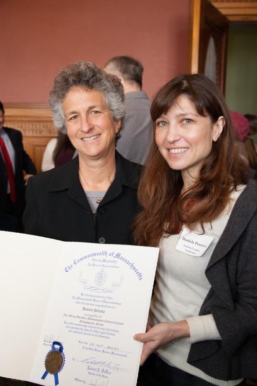 Representative Sarah K. Peake (left) with Daniela Petrova (right) at a 2013 celebration of Mass Cultural Council awardees, photo by Pierce Harman.