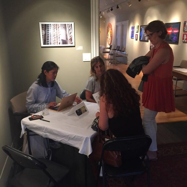 Hortense Gerardo holds LET'S TALK interviews at Zullo Gallery in Medfield, MA.