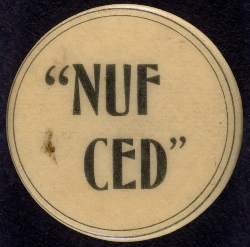 NUF CED button, from the Boston Public Library collection.