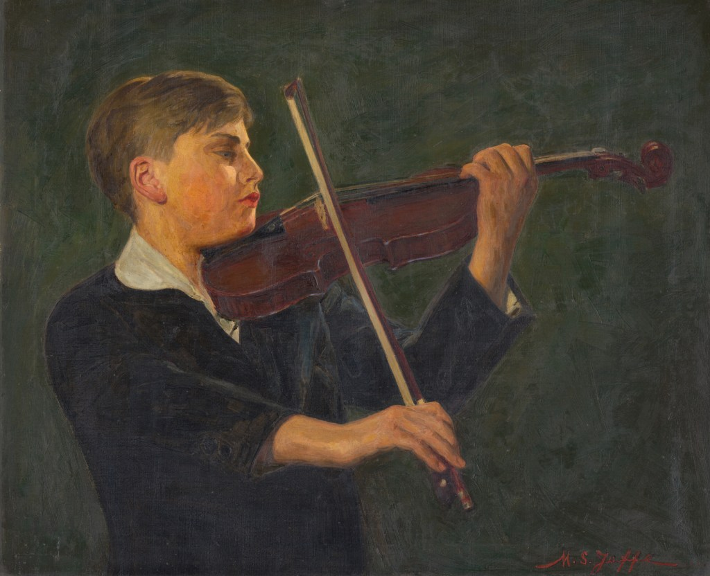 """Artist Mark S. Joffe's painting of Yehudi Menuhin, oil on canvas, 26"""" x 32"""", 1932. From the collection of the National Portrait Gallery, Smithsonian Institution."""