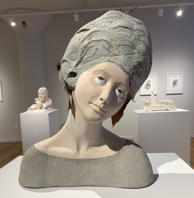 Mary Kenny (Sculpture/Installation/New Genres Finalist '05), WASP WOMAN (2021), stoneware, paper, wire, 23x17x13 in.