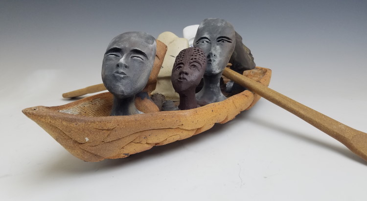 Judith Motzkin (Crafts Fellow '19), ALL IN THE SAME BOAT (2017), stoneware, porcelain, 8x24x18 in.