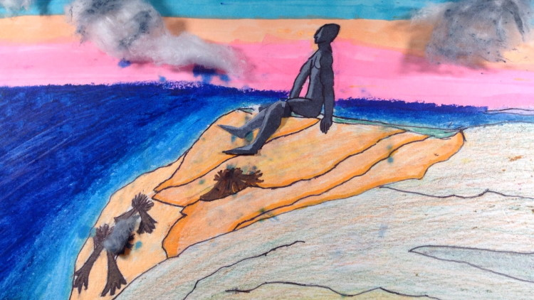 Still from the film INTERGENERATION by Carolyn Shadid Lewis (Film & Video Fellow 11); the image features animation by Giovanni Depina based on the Wampanoag myth of the giant Moshup.